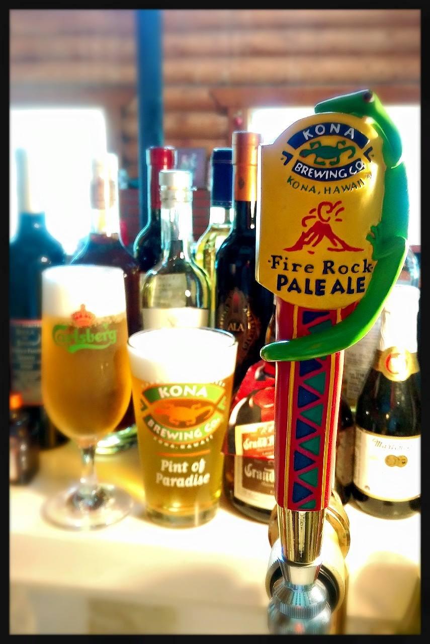 For draft beer, we have Carlsberg as well as Kona beer of Hawaii (bottle).