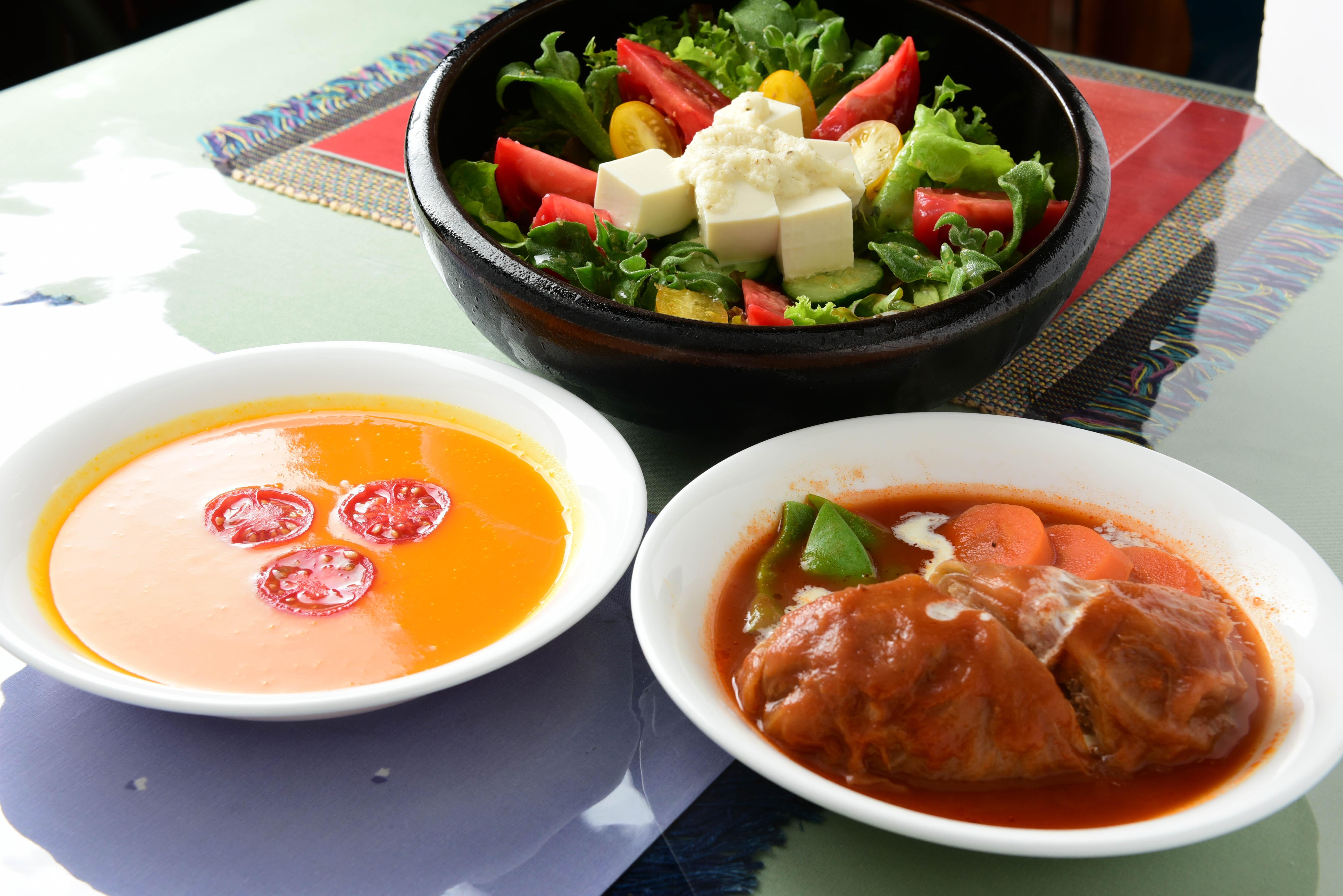 ランチ ロールキャベツ/ホットサンド/スープ/サラダ